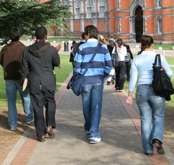 Students walking on a college quad
