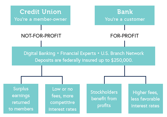 chart illustrating differences between credit unions and banks